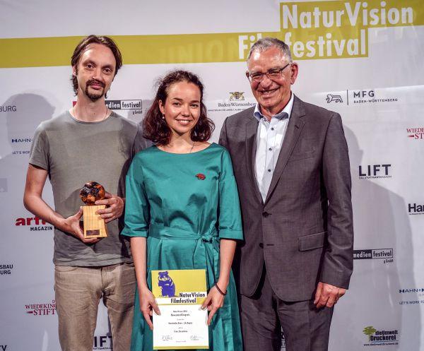 NaturVision 2018 - Autoren Grishin (l) und Zhuravleva (m) sowie Festivalleiter Thoms (r) © Tobias Metz