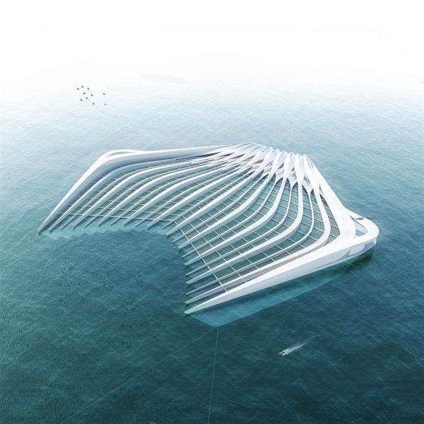 Plattform im Meer gegen Plastikmüll