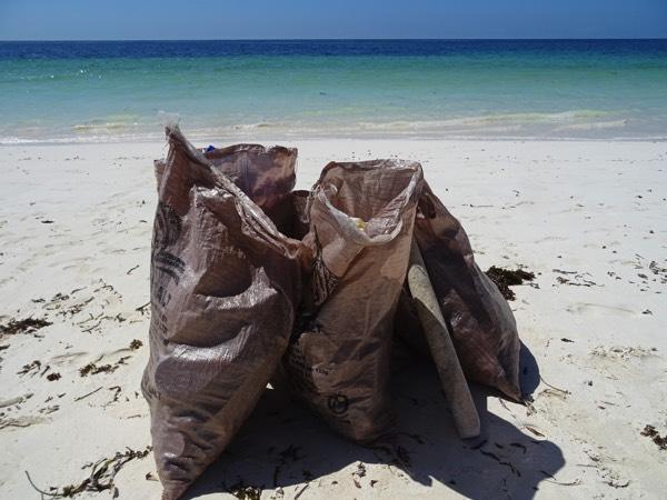 Mit fünf Teammitgliedern haben wir innerhalb von nur einer knappen halben Stunde fünf volle Müllsäcke voller Plastikmüll gesammelt. Damit ist nur ca. 1/10 des betreuten Strandes oberflächlich gereinigt - zumindest bis zum nächsten Hochwasser in einigen Stunden, das neuen Müll anschwemmt.